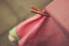 HBW! (nina's clicks) Tags: wood red table madera broche gingham tablecloth peg mesa clothespin mantel