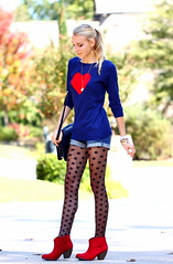 Heart to Spot (Thedrawingmannequin) Tags: red fashion vintage sweater heart navy style polkadots spotted booties redboots redbooties vintagepurse sheertights polkadottights heartsweater fashionblogger spottedtights