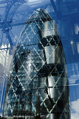 Reflections of the City (grahamwiffen) Tags: city blue windows london glass architecture buildings reflections nikon patterns panes reflected lloyds thegherkin lloydsbuilding stmaryaxe d7000
