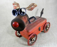 assemblage sculpture - RUDY - The Red Nose Robot Dog - Reclaim2Fame (Reclaim2Fame) Tags: christmas red sculpture dog metal puppy tin robot holidays mixedmedia foundobject robotdog upcycled recycledmaterial