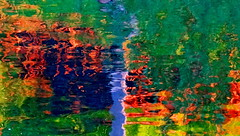 Water Art: Magical reflections (peggyhr) Tags: blue orange lake canada green yellow reflections alberta ripples waterart peggyhr bluebirdestates frameit~level01~ rainbowofnaturelevel1red dsc09866ab 30faves~