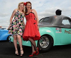 Rachael & Melanie_7035 (Fast an' Bulbous) Tags: girl girls woman women hot sexy car vehicle automobile willys coupe v8 fast speed power drag race strip track pits santa pod dragstalgia england people outdoor