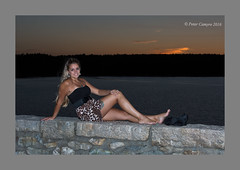Melissa Grace - Sunset (Peter Camyre) Tags: melissa grace peter camyre photography quabbin reservoir sunset outdoor summer photoshoot female model pose posing beautiful blonde lady glamor fashion sun orabge sky tones colors colorful flickr bare foot feet barefoot skirt rock wall ef70200mmf28lisiiusm canoneos5dmarkiii