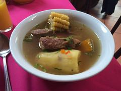 """San Pedro de Atacama: plat du jour pour Miss V. Une soupe avec une patate, un morceau de potiron, un morceau de maïs et un morceau de boeuf. Pas excellent mais ça remplit et ce n'est pas cher... <a style=""""margin-left:10px; font-size:0.8em;"""" href=""""http://www.flickr.com/photos/127723101@N04/28941626220/"""" target=""""_blank"""">@flickr</a>"""