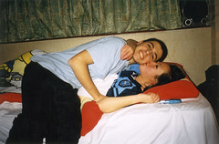 Lizzy's room (Gary Kinsman) Tags: hampsteadstudentcampus hampstead childshill nw3 kidderporeavenue london 2001 film kingscollegelondon kcl hallsofresidence studentcampus students university fun youth young pose posed bedroom flash