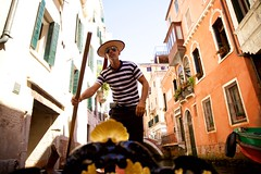 Gondolier (cookedphotos) Tags: canon 5dmarkii travel italy venice venezia gondola water boat gondolier sunglasses hat stripes canal
