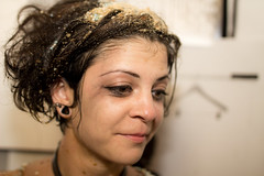 messy JuLILA II (HACHIMAN.) Tags: messy mess food old girl portrait wet liquid sugar sticky dirty film shortfilm set