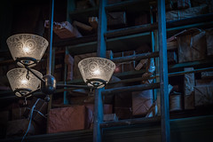 """Parcels, Posts & Midnight Blues"" (milmonfharrison) Tags: lowkey dark indoor postoffice color blue lowlight lamps 500mm f18 victorian antique vintage oldworld"