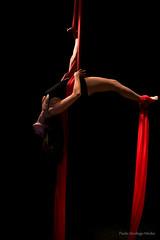 Suspended Darkness Beauty (Paolo Strologo Media) Tags: aerial silk model red darkness acrobat theater saltimbanchi night strobe tessuti aerei acrobata teatro sirolo conero sony a6000 sel1650pz paolo strologo