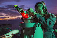 Sailor takes navigation readings aboard USS Bonhomme Richard. (Official U.S. Navy Imagery) Tags: navy marines amphibiousassault philippinesea bonhommerichard quartermaster navigation expeditionarystrikegroup underway deployment military