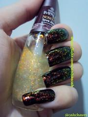 Preto Fosco (Risqué) com Love Story (Impala) (Camila (unhas)) Tags: hand nails impala nailpolish mão unhas risque esmaltes esmalte flocado flakies