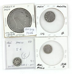 1026. Four (4) Mexican Silver Coins of Maximilian