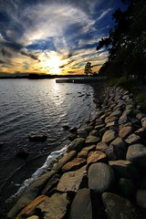 Evening Sun Rocks! (MilaMai) Tags: ocean sunset sky beach clouds finland dock helsinki rocks foam seurasaari stunningskies