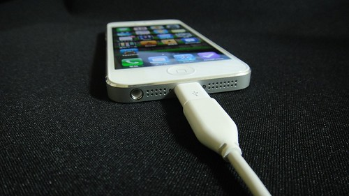 iPhone5 with Lightning to Micro USB Adapter connected