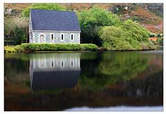 Church by the lake (catb -) Tags: ireland lake reflection church dawn cork holyisland bantry fa gouganebarra stfinbarr