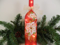 Lighted Red Wine Bottle White Poinsettia Hand Painted 750 ml (Painting by Elaine) Tags: christmas white holiday lights bottle wine painted poinsettia handpainted winebottle homedecor lighted barlight paintedglass paintedbottle handpaintedglass winebottlelights bottlelights lightedwinebottle paintingbyelaine lightedbottle winebottlelight
