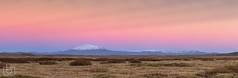 Mountain Hekla at sunset - Iceland (Arnar Bergur) Tags: sunset panorama orange mountain snow landscape iceland colorful bushes eruption sland hekla arnarbergur