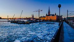Winter sunset in Stockholm (Jens Sderblom) Tags: d7000 nikon riddarfjarden riddarholmen scandinavia sigma175028os stockholmcityhall stockholmsstadshus sverige sweden bluehour bltimmen bridge cold evening ice sunset water winter