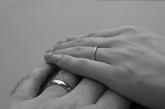 Now and Always (yorkshire stacked) Tags: autumn wedding bw love bride hands nikon october focus bokeh infinity fingers marriage husband diamond rings wife gloom nikkor eternity weddingceremony weddingbands tiffanyco nowalways nikond300s yorkshirestacked mattomatto