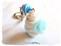 Sweet Blue Cupcake Keychain (♥ Cateaclysmic ♥) Tags: blue food cake keychain handmade crafts charm cupcake clay etsy deco polymer