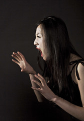 Nancy fighting (~ Lumi ~) Tags: red black girl canon asian model dress shanghai lips claw nancy scream angry fighting lumi miniskirt upset asiangirl 30d chinesegirl asianmodel sexyasiangirl prettyasiangirl lumi3005 chinamodel buchstabenfotogruppe