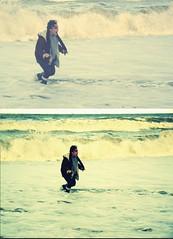 Self (KJHOBGOBLIN) Tags: ocean blue winter sea cold film beach water girl weather sand waves natural norfolk bubbles foam wellies swell wellingtons froth