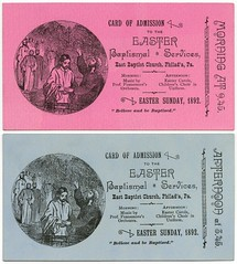 Admission Cards, Easter Sunday, Philadelphia, Pa., April 17, 1892 (Alan Mays) Tags: old pink blue music philadelphia vintage john paper easter cards tickets typography holidays pennsylvania antique religion jesus 19thcentury victorian churches ephemera pa type mornings carols fonts printed admissions baptisms sundays afternoons services jesuschrist typefaces nineteenthcentury choirs 1890s 1892 johnthebaptist eastersunday april17 mottos churchservices admissiontickets baptismofjesus fennemore admissioncards cardofadmission eastbaptistchurch baptismalservices proffennemoresorchestra fennemoresorchestra