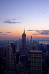 MANHATTAN (vandan desai) Tags: nyc newyorkcity blue sunset sky sunlight newyork colors landscape lights evening landscapes cityscape manhattan cityscapes rockefeller