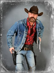 Cowboy Doubles (Cowboy Tommy) Tags: hairy selfportrait hot sexy fashion beard furry cigarette smoke blueeyes manly handsome smoking jeans western levi denim plaid levis cowboyhat buckle rugged holster bulge gunbelt