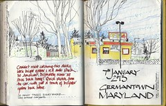 Yellow Shack near Panera (skyeshell) Tags: trees usa america md maryland sketchbook shack sketchbookjournal fromthecarpark drawingfromobservation drawingfromthecar colouredpencilsandpenurbansketchers