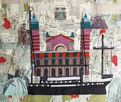 Grandpa's Journey depicts my grandfather's migration from Russia to Rotterdam to Ellis Island. (enovember) Tags: artquilt quilt fiberart pictorial crossing ellisisland grandpa wwi mixedmedia statueofliberty map cartography