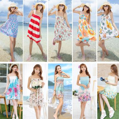 Sommer Röhre obere Band schlanke Rock böhmischen Strandurlaub Kleid Kinder Strand Blumen chiffon-Kleid