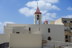Church by the sea, Akko. (Yekkes) Tags: israel akko acre church cross bell tower steeple white sky clouds