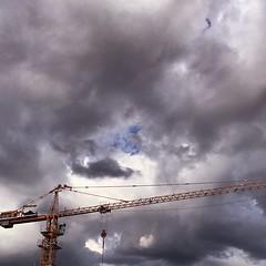 Blue (darilag_johnaldrine) Tags: flickr construction tower clouds blue engineer crane gloomy gloom
