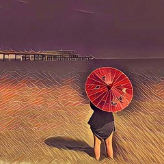 Woman with Parasol at Water's Edge (David Thousand Words) Tags: deal pier dealpier kent england summer prisma mononoke parasol seaside beach woman girl umbrella
