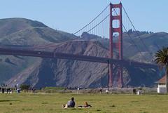 Crissy field (Michael Dunn~!) Tags: bridge goldengatebridge grass marinadistrict photowalking photowalking20130414 sanfrancisco sky suspensionbridge