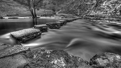 Stepping stones 1_ (waynedavey67) Tags: canon 6d 1635mmlf4 derbyshire dovedale river stepping stones longexposure ndfilters landscape water bw monochrome