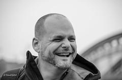 Laughing (tina djebel) Tags: person mensch menschen people street streetwork schwarzweis blackwhite frankfurt westhafen nikkor nikon d7000 dslr