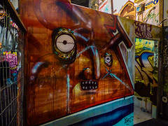 The Heavy (Steve Taylor (Photography)) Tags: art graffiti mural streetart fence brown blue scary eerie spooky frightening man newzealand nz southisland canterbury christchurch perspective ymca spectrum eye heavy hammer ryan yikes head face jacob