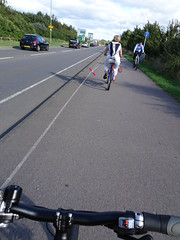 Wide Load (stevenbrandist) Tags: cycling bicycle sharedpath cyclepath commute commuting loughborough othercyclists scooter