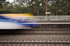 Flying Colours (Nathan Murphy) Tags: xpt nswtrainlink nswtrains nsw trains stations platfrom lights trails blue yellow intercity colours day night lapstone