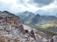 To The Valley Below (geedub611) Tags: road hairpin italia italy dolomites rock valley mountain