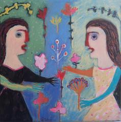 (# 1032) sold (*50)meandmilo CHICAGO-IL 2/23/12 (sariart2) Tags: original girls abstract flower art garden painting raw folk outsider naive sari primitive azaria