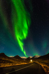 Aurora Borealis in Hrgrdalur (Jokull) Tags: road longexposure blue autumn mountains green night dark stars island photo iceland photograph portret 1740mm northernlights auroraborealis icelandic norurljs norurland northiceland allxpressus traveltoiceland canoneos5dmkii plljkull cometoiceland