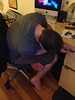 Yes, asleep at his desk, about to fall over. (Daphne_Blue) Tags: sleeping thehusband narcoleptic inappropriately doingitwrong