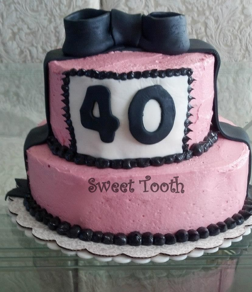 40th Birthday Cake SweetToothDesserts Carsedra Tags Pink Black