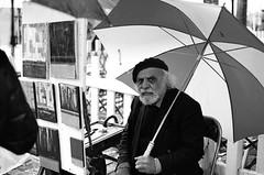 Street artists of Montmartre I. (zsozso68) Tags: street portrait bw man umbrella canon artist montmartre painter eos1v