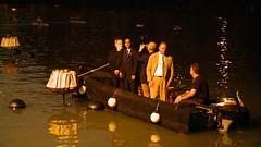 Mayor Taveras and Barnaby Evans prepare to light WaterFire Roma.