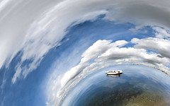 Serenity lost and found (amfipolos) Tags: sea panorama beach photoshop boat weekend 360 panoramic greece sonycybershot polarcoordinates chalkis halkida παραλία σύννεφα θάλασσα βάρκα littleplanet polarpanorama halkis stereographicprojection χαλκίδα μπούρτζι pixelbender