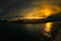 Corfu (dtsortanidis) Tags: city blue sunset red sea 2 sky orange art clouds digital canon lens island photography town europe view artistic mark fisheye greece ii 5d corfu kerkyra vacations 15mm ef mk dimitris meditteranean ionian dimitrios 815mm tsortanidis dtsortanidis